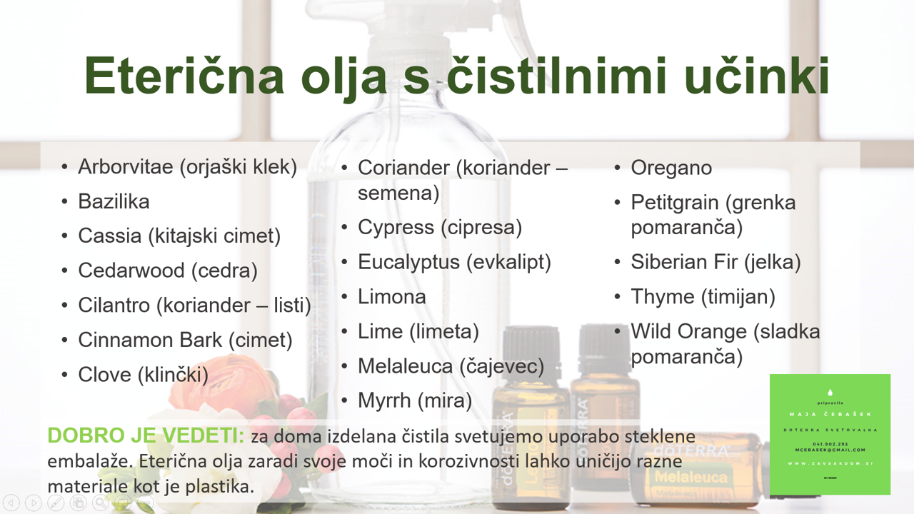 naravna čistila recept eterična olja doTerra